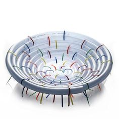KORI - basket made by a pvc hosepipe and coloured cable ties. For indoor and outdoor use. By ZPSTUDIO