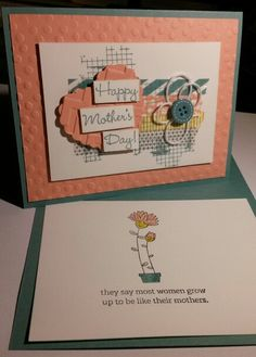 Mother's Day Card, using Stampin' UP! stamps sets: Sweet Laughter & Off the Grid. CS: Lost Lagoon, Whisper White, & Crisp Cantaloupe. Ink: Lost Lagoon & Momento Tuxedo Black. Embelishments: Sweet Dreams washi tapes & button, Whisper White Twine. Handmade by Q2UNIQUEDESIGNS @2015.