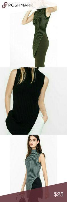 🎉 DAILY DEAL!!! 20% OFF Asymmetric mock neck top Sleeveless  Asymmetric side split  Mock neck Express Tops