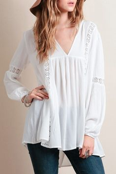 White Lacework Spliced V-Neck Long Sleeves Blouse