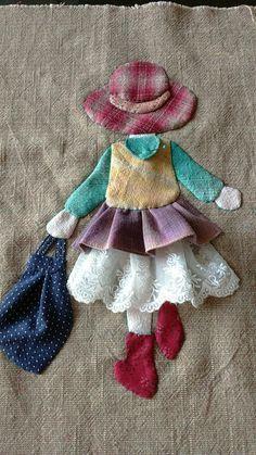 Ulla's Quilt World: Quilt bag - Japanese patchwork Wool Applique, Applique Patterns, Applique Quilts, Applique Designs, Embroidery Applique, Sewing Patterns, Hand Applique, Applique Tutorial, Applique Ideas
