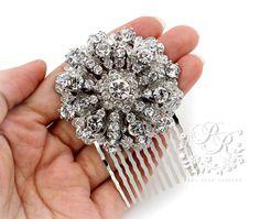 Wedding Hair Comb Rhinestone Snow style hair by PureRainDesigns