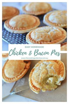 Creamy Chicken Pie with Puff Pastry These hearty and delicious homemade chicken and bacon pies are a family favourite. Tender chicken and bacon in a creamy mustard sauce, all encased in crispy, flaky pastry. They are almost impossible to resist! Mini Pie Recipes, Dessert Recipes, Cooking Recipes, Chicken Pie Recipes, Dinner Recipes, Chicken Bacon, Savory Pastry, Flaky Pastry, Savoury Pies