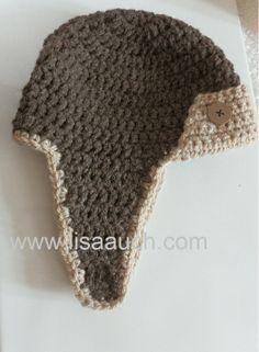 FREE Crochet Patterns: Crochet Baby Hat Pattern Aviator Hat perfect for boys
