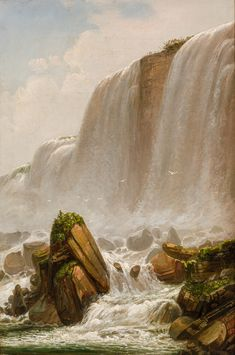 """""""Niagara Falls, Ferdinand Richardt, 1873-1878, oil on canvas, 21 x 14 1/2"""", private collection. Ferdinand, Natural Wonders, American Artists, Niagara Falls, Oil On Canvas, Fine Art, Nature, Painting, Collection"""