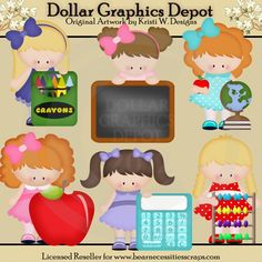 School / Teacher Clip Art - *DGD Exclusive* - Created by Kristi W. Designs - Great for printable crafts, scrapbooking, embroidery patterns, and more! www.DollarGraphicsDepot.com