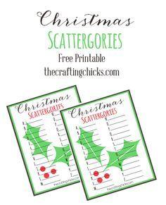 Christmas Scattergories free printable
