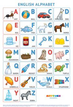 English alphabet poster by Murtiki project (v by BlackverLLC on DeviantArt English Activities For Kids, Learning English For Kids, English Worksheets For Kids, English Lessons For Kids, Kids English, Learn English Words, English Abcd, Alphabet Words, Printable Alphabet Letters