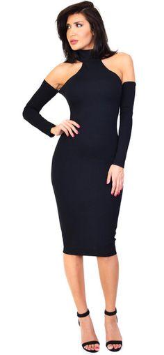 Penelope Mock Neck Cold Shoulder Midi Dress. Material is 67% Rayon, 28% Nylon, 5% Spandex.