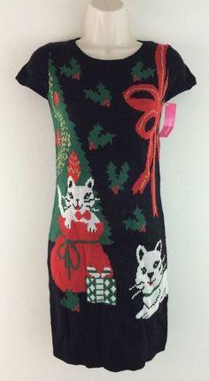 NWT XHILIRATION Black Knit Christmas Cats Short Sleeve Fitted Sheath Dress XS #Xhiliration #SweaterDress #Festive