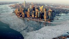 Beautiful aerial photo of New York surrounded by ice