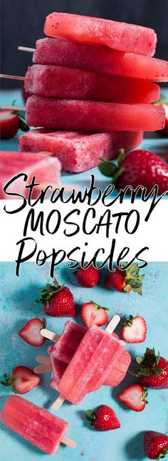 These 2-ingredient strawberry moscato popsicles are a refreshing grown-up treat!