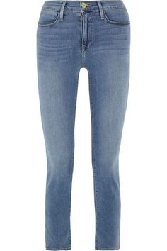 FRAME's 'Le High' slim-leg jeans are perfect if you like the silhouette of skinny styles but prefer a more relaxed feel. The shape-retaining stretch-denim offers a soft, comfortable fit. They're faded at the knees and through the thigh for a lived-in look.