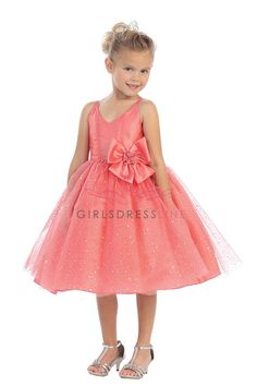 Coral  Ballerina Flocked Sparkle Skirt Dress T5590-CO T5590-CO $52.99 on www.GirlsDressLine.Com