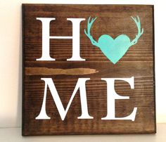 Heart With Antlers Home Wood Sign woodland décor plaque home lodge office wildlife animal deer theme hunting nature love handmade rustic Wood Signs For Home, Rustic Wood Signs, Rustic Decor, Deer Decor, Woodland Decor, Workshop, Wood Creations, Diy Signs, Handmade Home Decor