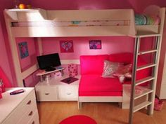 Bed Room, Red Cover Bedroom Furniture Beautiful Small Bunk Beds With Couch Underneath With With Desk Underneath For Study With Computer And Aslos For The Inspiration Ideas With White Of The Cabinets And Rug ~ Loft Beds With Couch Underneath Desk
