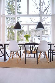 Eames Chairs AND Wishbone Chairs? Drool worthy.   Find these styles and more at www.smartfurniture.com