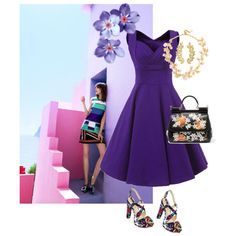 Dazzle In Purple by joybug9 on Polyvore featuring Bakers, Dolce&Gabbana, BaubleBar and Eddera