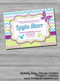 Beautiful Butterfly Baby Shower Invitation. #NOJO #BabiesRUs #Invitation #Baby #Shower #Purple #Blue #ChrispixsCreations
