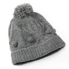 5d5a0cb82f9 SIJJL Pom-Pom Cable-Knit Wool Beanie Hat