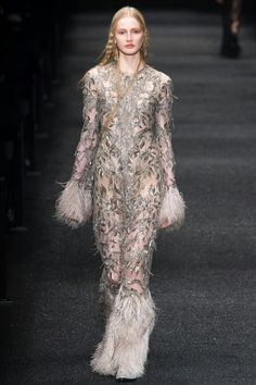 Fall 2017 ready-to-wear Alexander McQueen. Final look of the show. Embroidered with glass beads and stones. Inspired by a pagan wishing tree in Cornwall