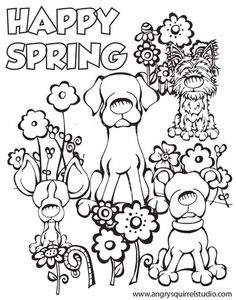 happy spring coloring page to print for kids