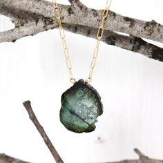 Simple Tourmaline Slice Necklace
