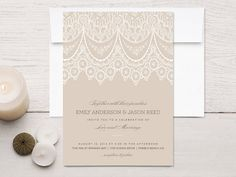 Scallop Lace Wedding Invitations