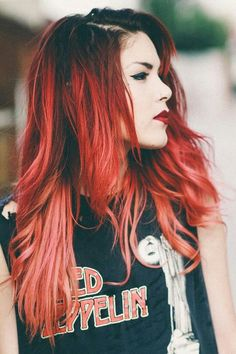 "Luanna Perez. Red hair. Rock, vintage t-shirt ""Punk Rock Makeup Inspiration"""