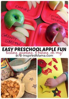Easy preschool apple fun with lots of apple-inspired ideas from B-Inspired Mama