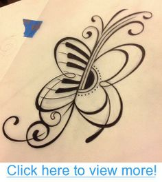 Piano/Guitar butterfly tattoo ....I want something like this for Adam$#39;s part but not a butterfly maybe just a bigger guitar