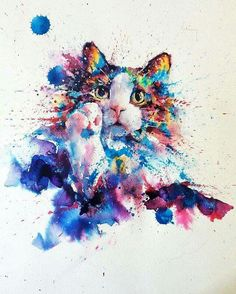 Watercolor cat art by Watercolor Art Lessons, Watercolor Art Diy, Watercolor Art Paintings, Watercolor Animals, Painting & Drawing, Watercolor Cat Tattoo, Colorful Animals, Cat Drawing, Animal Drawings
