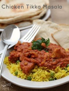 Chicken Tikka Masala. One of our favorite meals. The flavors are amazing and homemade naan vread just puts it over the top! ~ http://reallifedinner.com