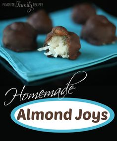 Homemade Almond Joys - we can't get enough of these! Find all our yummy pins at https://www.pinterest.com/favfamilyrecipz/