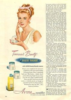 Avon Vintage Ad about 1948. Headline: Tomorrow's Beauty BEGINS TONIGHT with AVON beauty-formula creams. To see our current skin care selection, go to http://www.avon.com/category/skin-care/?c=repPWP&repid=9720704