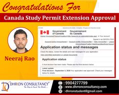 Congratulations Neeraj Rao for Canada Study Permit Extension! #CanadaStudentVisa #StudyInCanada #SuccessStory #studyabroad #visaextension #VisaExpert Study Abroad, Extensions, Congratulations, Canada, Student, Messages, Sew In Hairstyles, Text Conversations