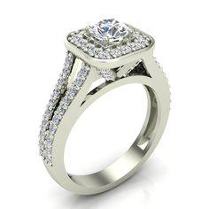 1.10 ct tw Cushion Halo Engagement Ring 14k Gold (J,I1)