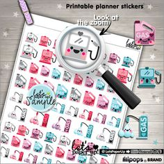 Printable Planner Stickers, Gas Stickers, Hair Salon Stickers, Hair cut, Erin Condren, Kawaii Stickers, Planner Accessories, Cute Stickers