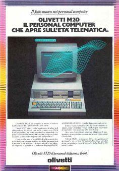 Pubblicità per il computer Olivetti M20, il primo personal computer europeo presentato dalla Olivetti nel 1982