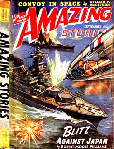 scificovers:  Amazing Storiesvol 16 no 9 September 1942. Cover byJames B. Settles illustratingBlitz Against Japan by Robert Moore Williams.