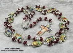 Easter Stations of the Cross Jesus on the Cross Garnet Red Jade Handcrafted Gemstone Rosary Chaplet