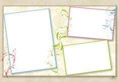 Plantilla Child 29x42 para la Creación de Foto Libros - Fondo Blanco con hojas en tono beige adornado con ramilletes de colores