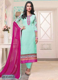 Elegant Blue Coloured Georgette Embroidered Semi-stitched Salwar Suit
