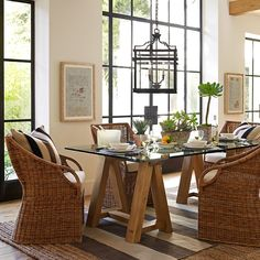 {meyer lemon trees in beautiful reclaimed square planters} {inspiration for setting up a Spanish sangria party…} bread board | hurricane| dinner plate | salad plate | table runner | vintage pizza board | flatware  {casual, elegant dining room} dining table | chairs | striped rug| pillows | pendant| abaca rug J.CREW SALE STARTING …