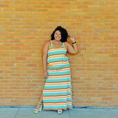 Vem chegando o verão e eu já corri pra @lojas_citycol e garanti essa lindeza pra chamar de meu!  Colorido e listrado do jeito que eu gosto! Lindão, né?! Gostaram, meninas?! Me contem! 😊  #PlusSize #CelebrateMySize #MorenoLook #NaCitycolTem #Citycol #ModaBarata #ModaCarioca #StreetStyle #LookDoDia