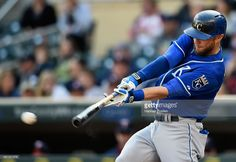 Alex Gordon #4 of the Kansas City Royals hits an RBI double against the Minnesota Twins during the second inning of the game on October 4, 2015 at Target Field in Minneapolis, Minnesota.