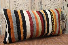 Stripe Turkish Handmade Kilim pillow cover 12x24 by stripepattern