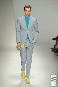 "Gentlemen! Get Ready Because This #Spring It Is All About You ""Expressing"" Your Best Style! I Am Completely Loving  Designer  #SalvatoreFerragamo For Many Reasons. He Is Bringing Energy Driven Colors To His Collection. I Want To See You Create Your Own Style This Spring. This Suit Is Refreshing.. It's Lightweight And Elegant. Here We Have A Gorgeous Turquoise Sweater And Shirt To Match. Very Sophisticated! Accesories Are Essential So Add A Splash Of Color W/ Your Shoes And Belt…"