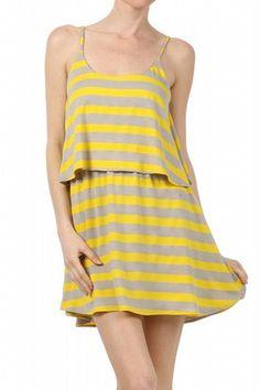 Mason 2 Tiered Stripe Tank Dress Yellow   Freckles Boutique