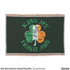 Kiss My Irish Ass Ireland Flag Shamrock Throw Blanket